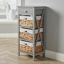 Grey Wooden Storage Unit 3 Drawer Chest Water