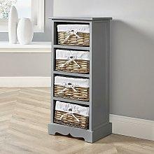 Grey Wooden Storage Unit 4 Drawer Chest Water