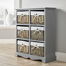 Grey Wooden Storage Unit 6 Drawer Chest Water