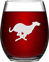 Greyhound Dog Crystal Stemless Wine Glass,Engraved