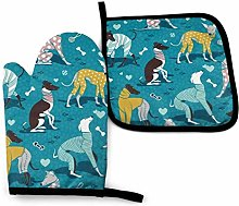 Greyhounds Dogwalk Oven Mitts and Pot Holders Sets