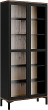 Greyson 2 Door Display Cabinet - Black & Walnut