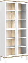 Greyson 2 Door Display Cabinet - White & Oak Effect