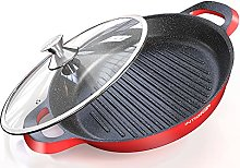 Grill Pan - Non Stick Cast Aluminium Griddle with