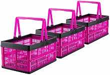 Grizzly 3 x Collapsible Crates with handles - 16 L