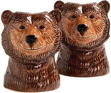 Grizzly bear Salt & pepper shaker set - / Hand
