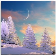 Group of Snowy Trees in Moonlight Framed