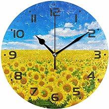 Growing Sunflower Wall Clock Quartz Analog Quiet,