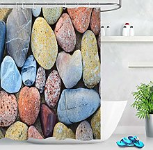 Grunge Cobblestone Pebble Waterproof Fabric Shower