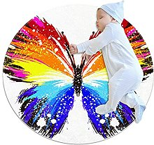Grunge rainbow butterfly, Printed Round Rug for