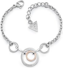 Guess Rhodium and Rose Gold Plated Circles Bracelet