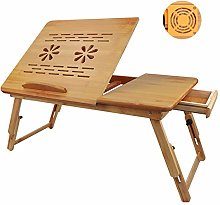GUIFIER Upgrade Portable Bamboo Laptop Table,