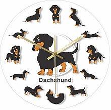 guijinpeng Wall Clocks Cartoon Dachshund Print
