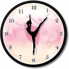 guijinpeng Wall Clocks Pink Ballerina Wall Clock