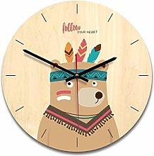 guijinpeng Wall Clocks12 inch bear Wooden creative