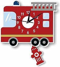 guijinpeng Wall Clocks12 inch Fire Truck Wall