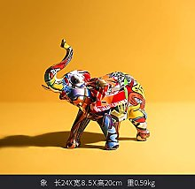 Guiping Creative Painted Colorful Elephant Resin