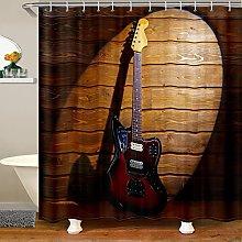 Guitar Shower Curtain for Rock Music Bathroom
