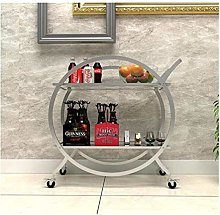 gujiu 2-Tier Serving Tea Cart,Metal Frame Kitchen