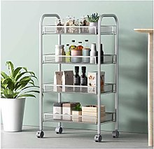 gujiu 4-Tier Mesh Wire Basket Rolling Cart Kitchen