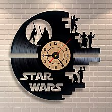 Gullei.com Black Wall Clock Star Wars Vinyl Record