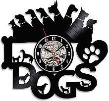 Gullei.com for Dog Lovers Black Vinyl Wall Clock