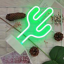 GUOCHENG Green Shine Cactus LED Neon Sign Pedsteal