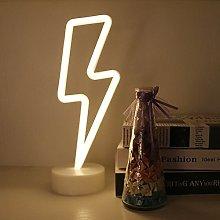 GUOCHENG Lightning Neon Sign Pedestal Neon Night