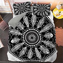 Guoting 3D Bedding Set Black And White Feathers