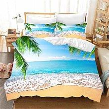 GUOTING 3D Bedding Set Blue Sea Beach Waves (135 X