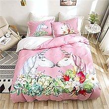 Guoting 3D Bedding Set Pink Flowers Animals Horses