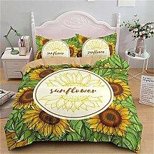 Guoting 3D Bedding Set Plant Sunflower Green