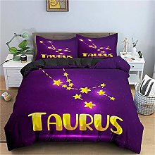 Guoting 3D Bedding Set Purple Constellation Yellow