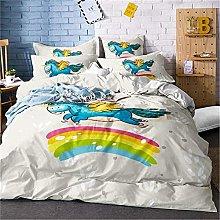 GUOTING 3D Bedding Set White Animal Rainbow Horse