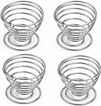 GUOXIANG Egg Cup Egg Set of 4 Metal Wire Tray Cup