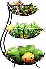 GUOXIANG Fruit Stand Black 3 Tier Metal Fruit