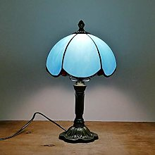 GUOXY Elegant Blue Table Lamp 20Cm Stained Glass