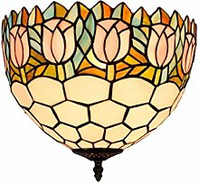 GUOXY Retro Stained Glass Flush Mount Ceiling