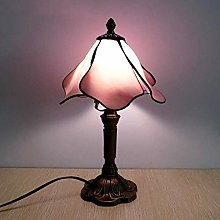 GUOXY Romantic Pink Table Lamp Stained Glass Decor