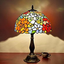 GUOXY Rose Design Decor Desk Lamp,Stained Glass