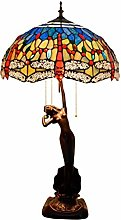 GUOXY Stained Glass Desk Lamp with 16-Inches