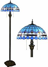 GUOXY Vintage Stained Glass Standing Floor Lamp