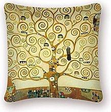 Gustav Klimt Oil Painting Cushion Cover Gold