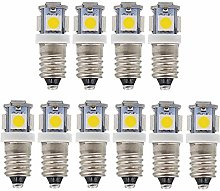 GutReise 10pcs E10 12V Cold White LED Bulbs Light