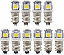 GutReise 10pcs E10 9V Cold White LED Bulbs Light