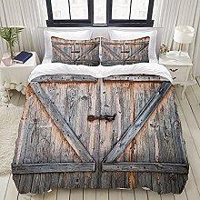 GUVICINIR Duvet Cover Set rustic Old wooden door