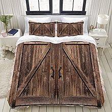 GUVICINIR Duvet Cover Set Rustic Wooden Barn Door