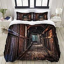GUVICINIR Duvet Cover Set Wooden House Corridor
