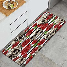 GUVICINIR Kitchen Mats Rug Washable,skulls and red
