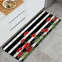 GUVICINIR Kitchen Mats Rug Washable,Striped Black